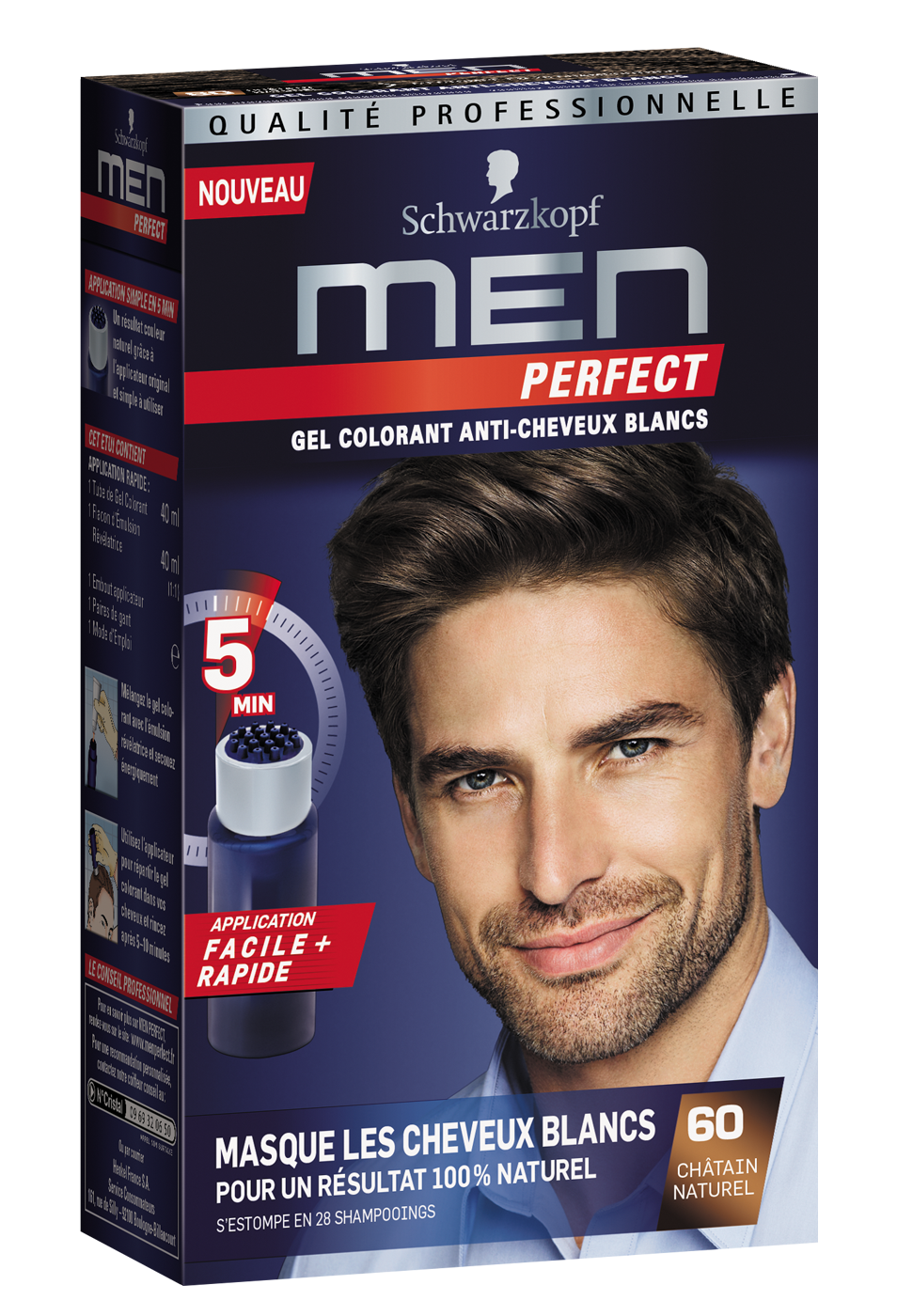Men Perfect - Gel Colorant anti-cheveux blancs - 60 Châtain Naturel