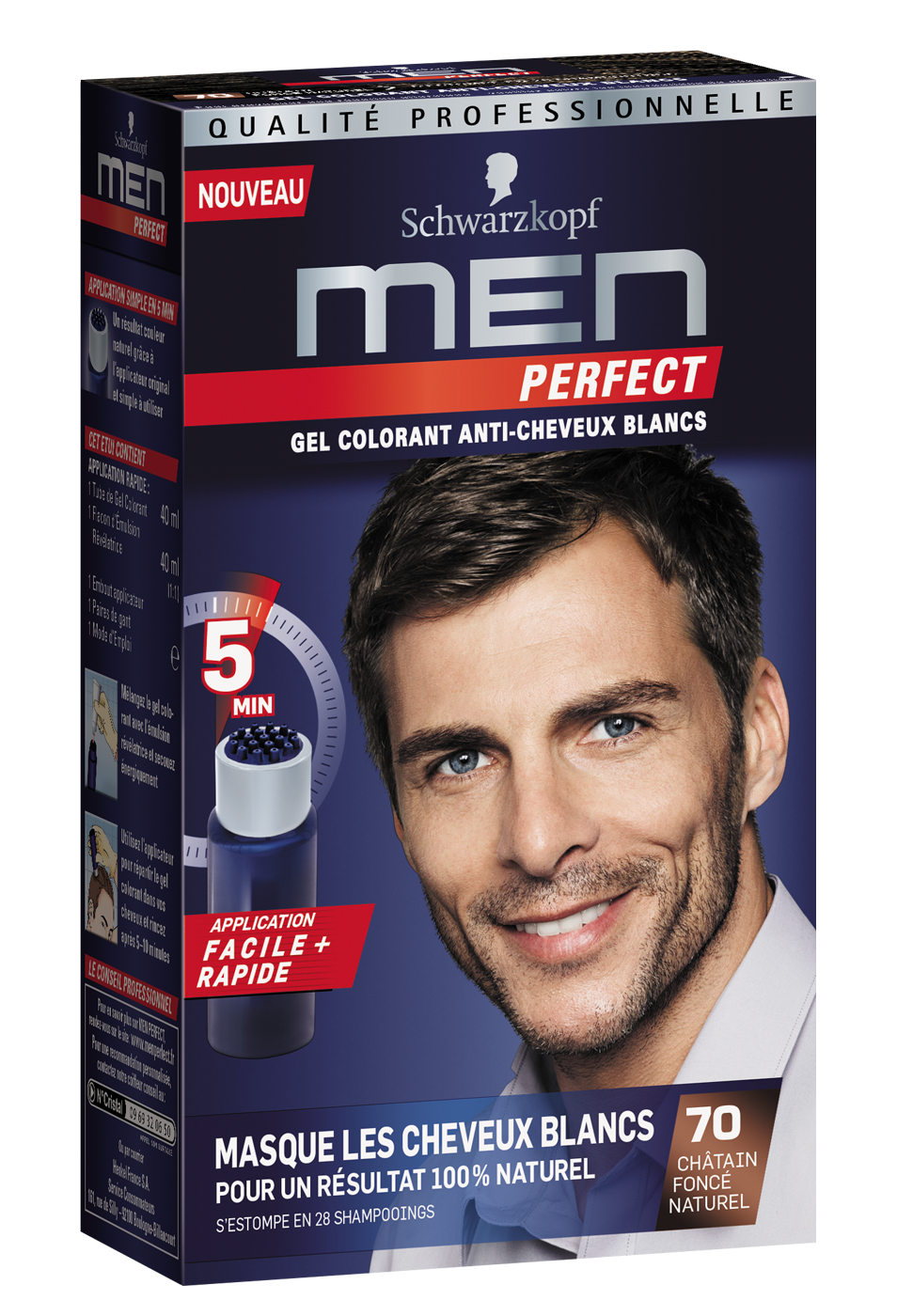 Men Perfect - Gel Colorant anti-cheveux blancs - 70 Châtain Foncé Naturel